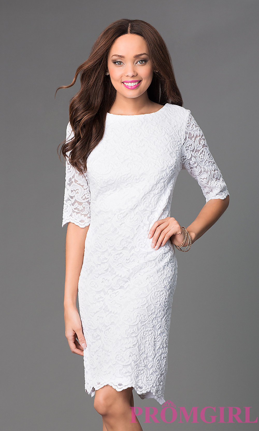 SF Knee-Length Lace Dress with Sleeves - PromGirl