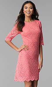 Image of short lace dress with sleeves by Sally Fasion. Style: SF-8795 Detail Image 2