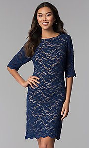Image of short lace dress with sleeves by Sally Fasion. Style: SF-8795 Detail Image 3