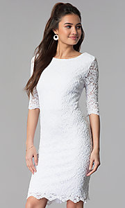 Image of short lace dress with sleeves by Sally Fasion. Style: SF-8795 Front Image