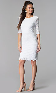 Image of short lace dress with sleeves by Sally Fasion. Style: SF-8795 Detail Image 1