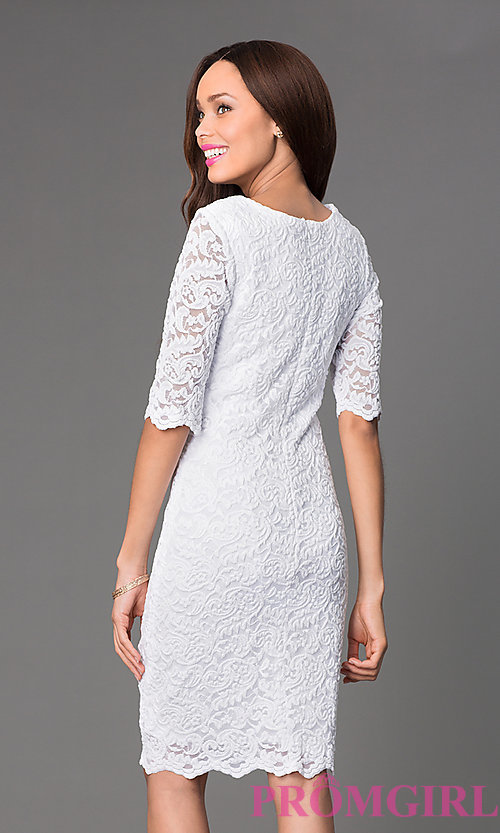 Image of short lace dress with sleeves by Sally Fasion. Style: SF-8795 Back Image