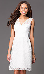 Image of Short Sleeveless Lace V-Neck Dress Style: JU-MA-261802 Front Image