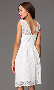 Image of Short Sleeveless Lace V-Neck Dress Style: JU-MA-261802 Back Image