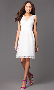 Image of Short Sleeveless Lace V-Neck Dress Style: JU-MA-261802 Detail Image 1