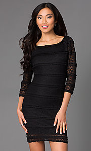 Image of short lace cocktail dress with 3/4 sleeves. Style: JU-47908 Front Image