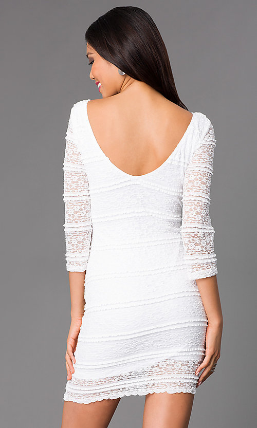 Image of short lace cocktail dress with 3/4 sleeves. Style: JU-47908 Back Image
