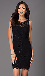 Jump Short Sleeveless Lace Sequin Dress