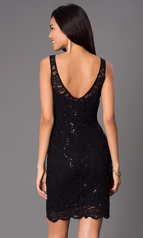 Image of short sleeveless lace sequin dress Style: JU-47435i Back Image