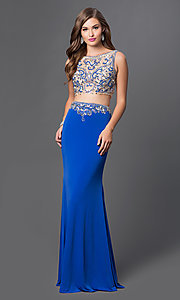Two Piece Beaded Jersey Prom Dress