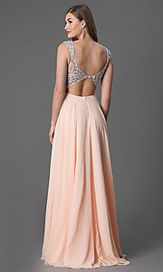 Image of long sleeveless v-neck jewel embellished bodice dress Style: DQ-8972 Back Image