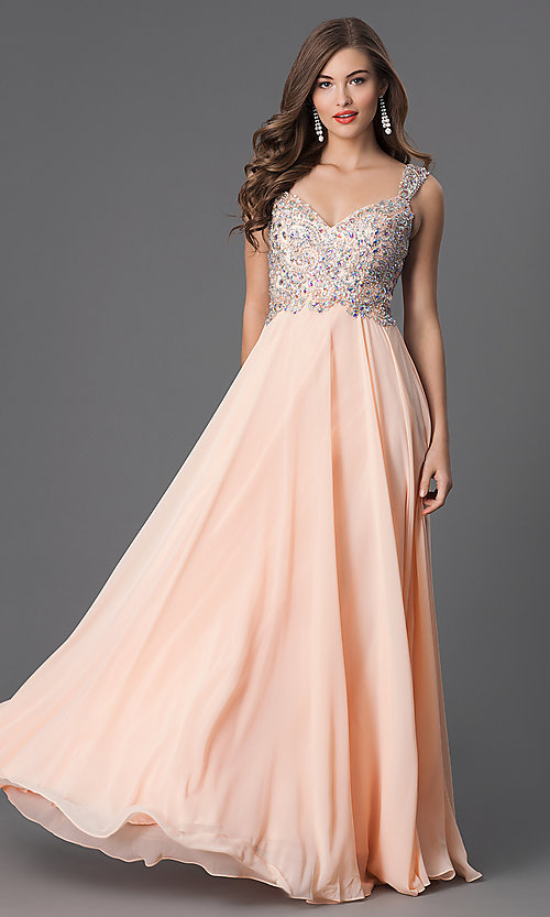 Image of long sleeveless v-neck jewel embellished bodice dress Style: DQ-8972 Front Image