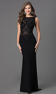 Image of black long prom dress with beaded illusion bodice. Style: DQ-8978 Front Image