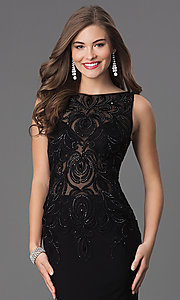 Image of black long prom dress with beaded illusion bodice. Style: DQ-8978 Detail Image 1