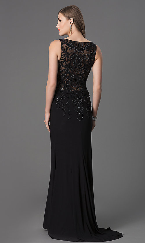 Image of black long prom dress with beaded illusion bodice. Style: DQ-8978 Back Image