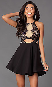 Black Short Sleeveless Dress with Lace Bodice