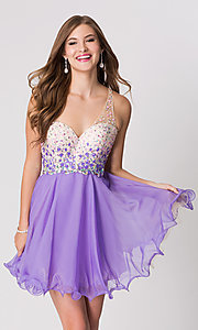 Image of one-shoulder short beaded dress Style: BL-10052 Front Image