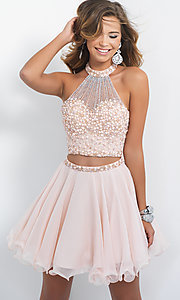 Image of high-neck two-piece short homecoming dress by Blush. Style: BL-10070 Front Image
