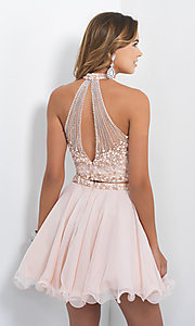 Image of high-neck two-piece short homecoming dress by Blush. Style: BL-10070 Back Image
