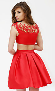 Image of short red cap-sleeve dress Style: SH-9756 Back Image