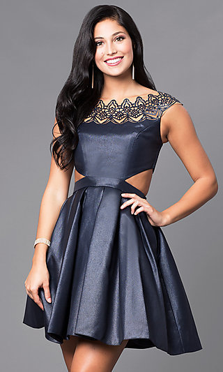 Cap-Sleeve Cocktail Party Dress
