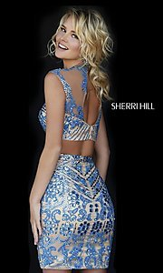 Image of short two-piece jewel-embellished high-neck dress Style: SH-1952 Back Image