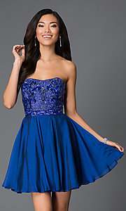 Embellished Short Strapless Sherri Hill Dress