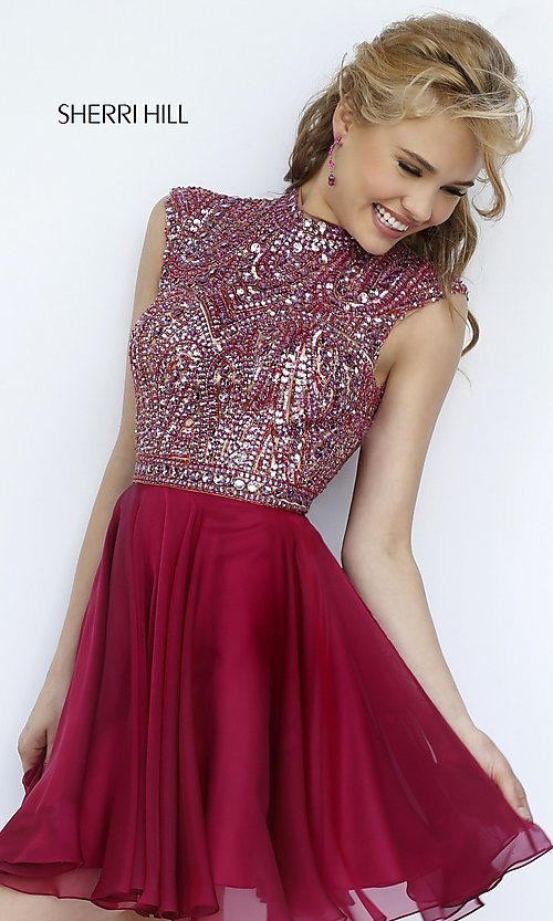 bd36d6c6ba8 Image of short high neck beaded bodice open back layered chiffon skirt  sleeveless dress Style