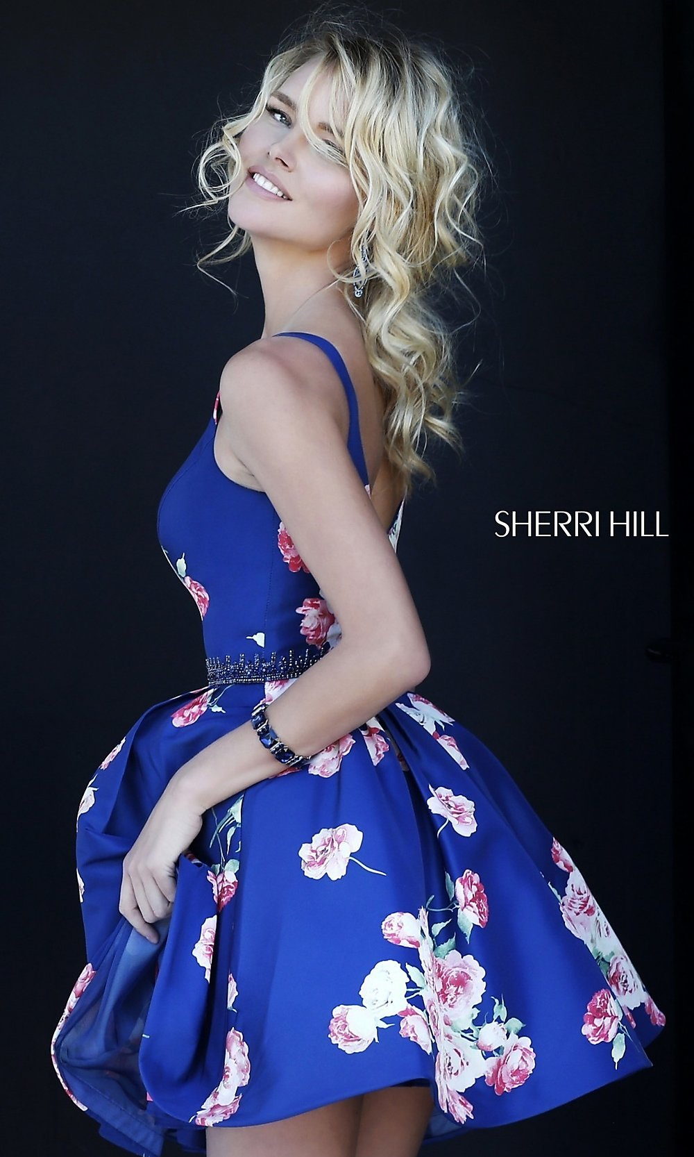 c55b39eb941 V-Neck Print Sherri Hill Party Dress - PromGirl