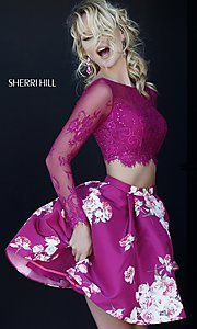 Sherri Hill Print Two Piece Long Sleeve Dress