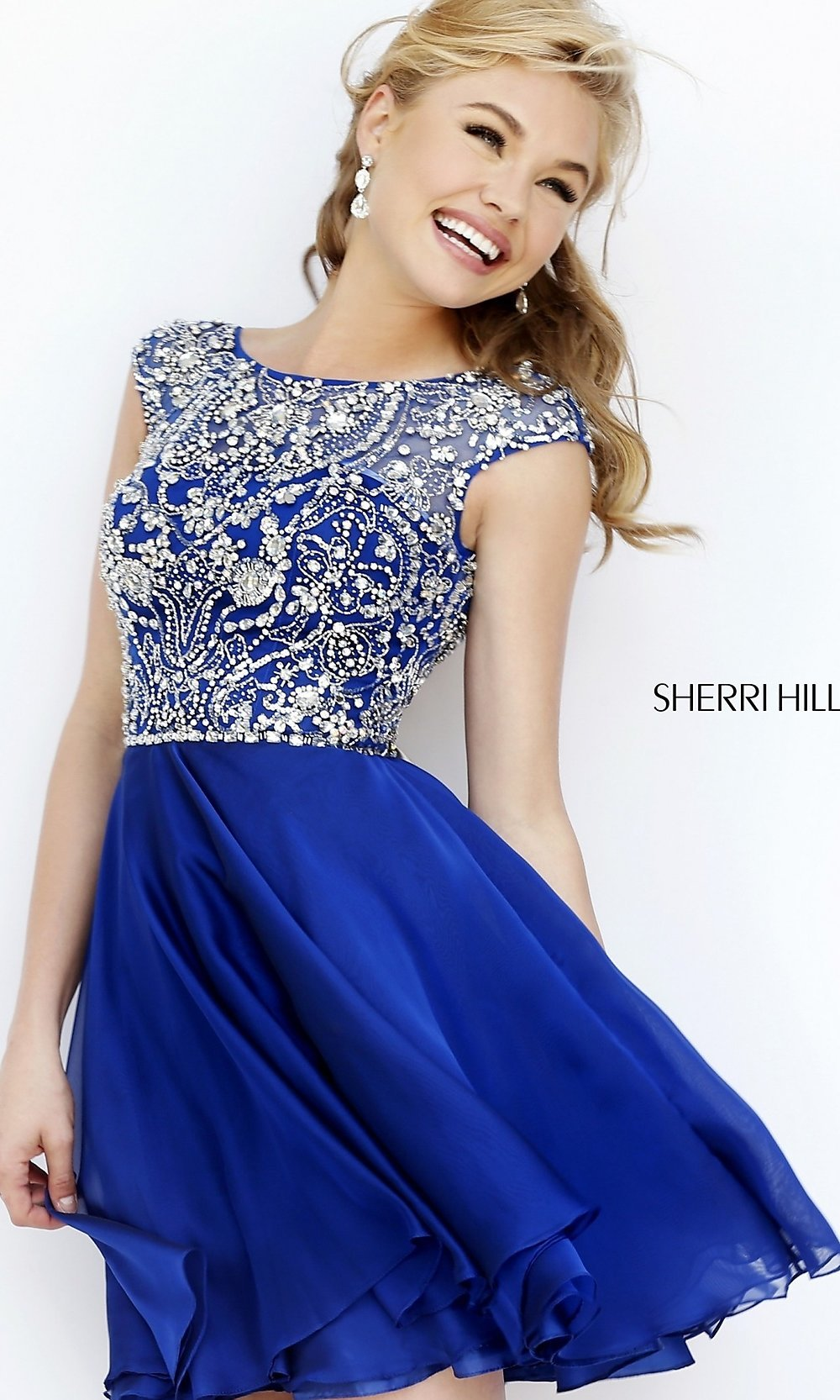 Sherri Hill Cap-Sleeve Beaded Party Dress-PromGirl
