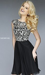 Image of short beaded cap-sleeve dress Style: SH-32320 Detail Image 1