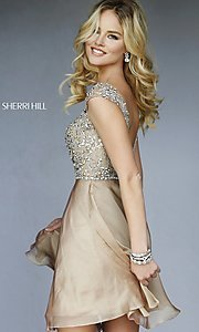 Image of short beaded cap-sleeve dress Style: SH-32320 Back Image