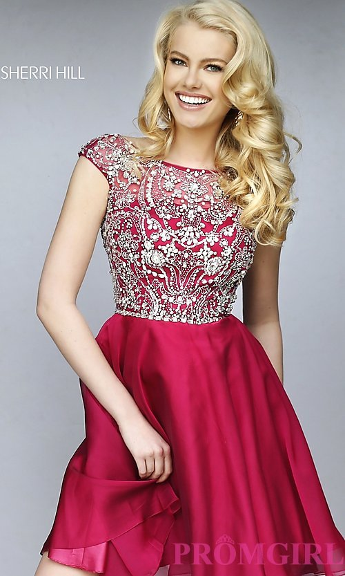 Image of short beaded cap-sleeve dress Style: SH-32320 Detail Image 3