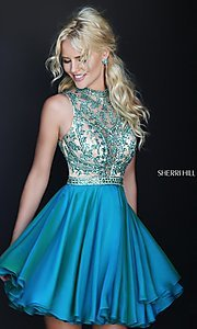 Image of short high neck jewel embellished bodice dress Style: SH-1965 Front Image