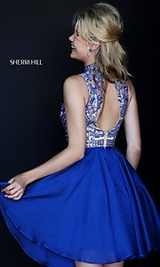 Image of short high neck jewel embellished bodice dress Style: SH-1965 Back Image