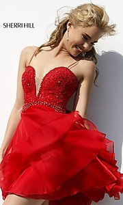 Short Spaghetti Strap Lace Bodice Dress by Sherri Hill