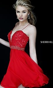 Image of short spaghetti-strap party dress Style: SH-11307 Detail Image 2
