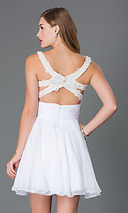 Image of short sleeveless dress with open back Style: AL-3639 Back Image