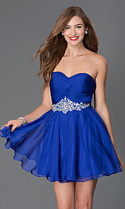 Image of short strapless dress with open back and jeweled waist Style: AL-3643 Front Image