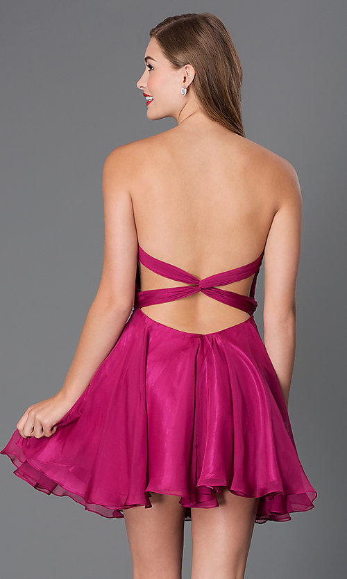 Image of short strapless dress with open back and jeweled waist Style: AL-3643 Back Image