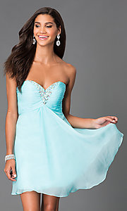 Image of short strapless open-back jewel embellished party dress Style: AL-3668 Detail Image 3