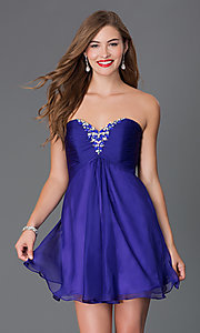 Image of short strapless open-back jewel embellished party dress Style: AL-3668 Detail Image 2