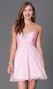 Image of short strapless open-back jewel embellished party dress Style: AL-3668 Detail Image 1