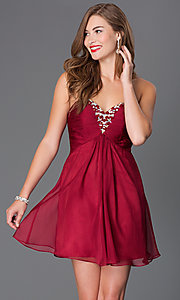Image of short strapless open-back jewel embellished party dress Style: AL-3668 Front Image