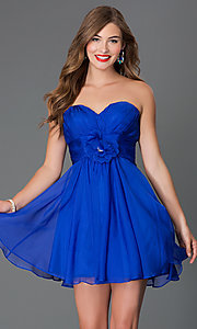 Image of short corset-back strapless sweetheart dress  Style: AL-3675 Front Image
