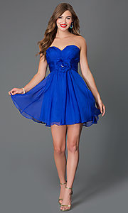 Image of short corset-back strapless sweetheart dress  Style: AL-3675 Detail Image 1