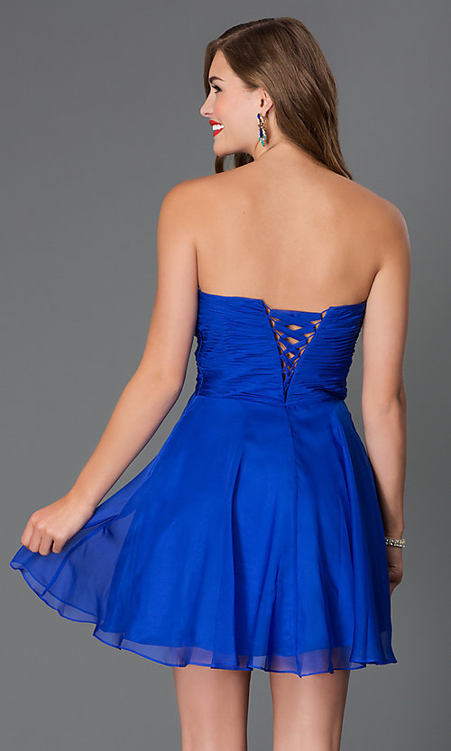 Short Corset-Back Sweetheart Party Dress -PromGirl