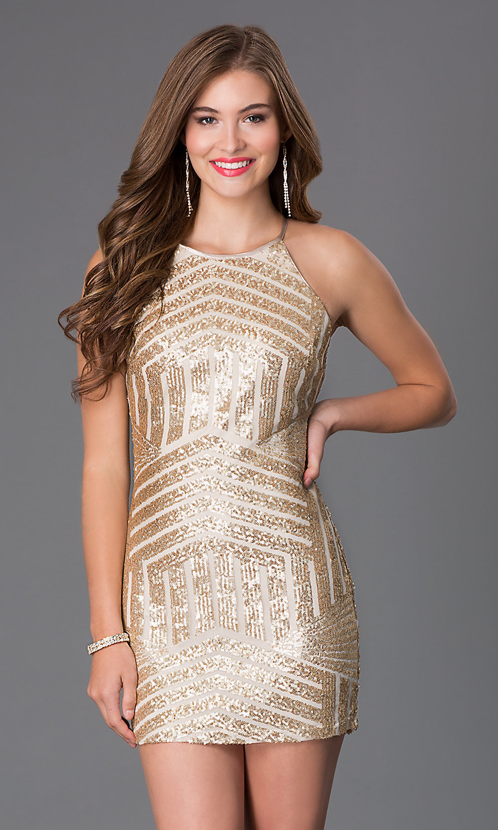 Short Gold High Neck Sequinned Dresses - PromGirl