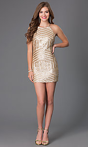 Image of Gold Sequin Short High Neck Prom Dress Style: MY-2559XC1C Detail Image 1